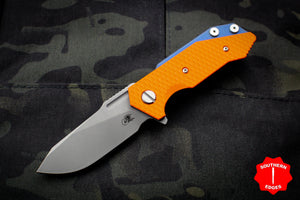 Hinderer Halftrack Orange G-10/Battle Blue Titanium Handle Working Finish Slicer Blade Gen 6 Tri-Way Pivot System