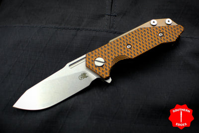 Hinderer Halftrack Orange & Black G-10/Stonewash Bronze Handle Stonewash Slicer Blade Gen 6 Tri-Way Pivot System