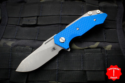 Hinderer Halftrack Blue G-10/Working Finish Titanium Handle Working Finish Slicer Blade Gen 6 Tri-Way Pivot System