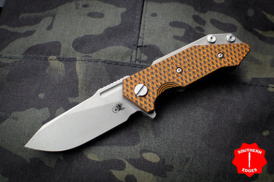 Hinderer Halftrack Orange & Black G-10/Working Finish Titanium Handle Working Finish Slicer Blade Gen 6 Tri-Way Pivot System
