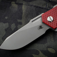Hinderer Halftrack Red G-10/Working Finish Titanium Handle Working Finish Slicer Blade Gen 6 Tri-Way Pivot System