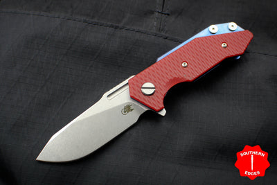 Hinderer Halftrack Red G-10/Stonewash Blue Handle Stonewash Slicer Blade Gen 6 Tri-Way Pivot System