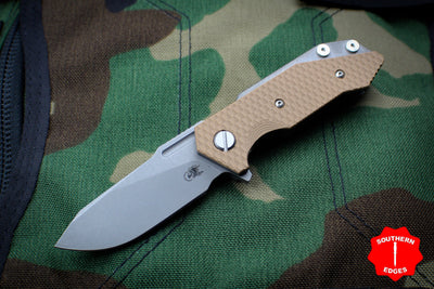 Hinderer Halftrack Coyote Tan G-10/Working Finish Titanium Handle Working Finish Slicer Blade Gen 6 Tri-Way Pivot System
