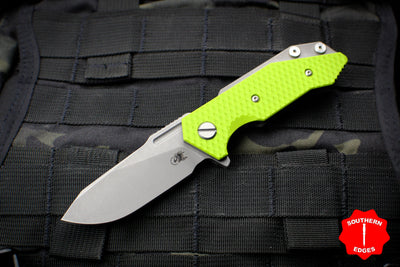 Hinderer Halftrack Neon Green G-10/Working Finish Titanium Handle Working Finish Slicer Blade Gen 6 Tri-Way Pivot System