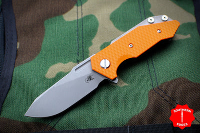 Hinderer Halftrack Orange G-10/Working Finish Titanium Handle Working Finish Slicer Blade Gen 6 Tri-Way Pivot System