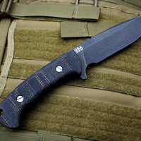 Hinderer Knives The Ranch Drop Point Fixed Battle Black Blade Burlap/Black Micarta Handle