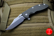 "Hinderer XM-18 3.5"" Bowie Green/Black G-10 Stonewash Bronze Handle, Stonewash Finished Blade Gen 6 Tri-Way Pivot System"
