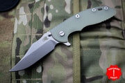 "Hinderer XM-18 3.5"" Bowie Translucent Green G-10 Stonewash Bronze Handle, Stonewash Finished Blade Gen 6 Tri-Way Pivot System"