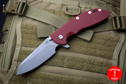 "Hinderer XM-24 4.0"" Sheepsfoot with Battle Bronze Handle Working Finish Blade Red G-10 Gen 6 Tri-Way Pivot System"