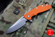 "Hinderer XM-24 4.0"" Sheepsfoot with Stonewash Handle and Orange G-10 Gen 6 Tri-Way Pivot System"