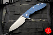 "Hinderer XM-24 4.0"" Sheepsfoot with Working Finish Handle and Blade Blue/Black G-10 Gen 6 Tri-Way Pivot System"