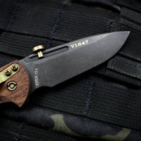 "Hinderer XM-Slippy 3.0"" Vintage Spearpoint Smooth Walnut Handle Black Blade Serialized"
