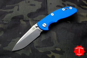 "Hinderer XM-18 3.0"" Non-Flipper Blue G-10 With Stonewash Spearpoint Edge Gen 6 Tri-Way Pivot System"