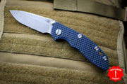 "Hinderer XM-18 3.0"" Non-Flipper Blue/Black G-10 With Working Finish Spearpoint Edge Gen 6 Tri-Way Pivot System"