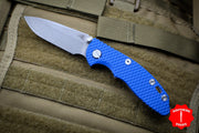 "Hinderer XM-18 3.0"" Non-Flipper Blue G-10 With Working Finish Spearpoint Edge Gen 6 Tri-Way Pivot System"