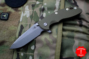 "Hinderer XM-18 3.5"" OD Green G-10 Spanto Edge Battle Bronze Working Finish S45VN Steel Blade Gen 6 Tri-Way Pivot System"