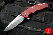 "Hinderer XM-18 3.5"" Spanto Edge Stonewash Handle S45VN Stonewash Finished Blade Red G-10 Gen 6 Tri-Way Pivot System"