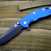 "Hinderer XM-18 3.5"" Spearpoint Blue G-10 & DLC Battle Black Finished Handle Battle Black DLC Blade Gen 6 Tri-Way Pivot System"