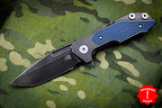 Hinderer Fulltrack Battle Black Titanium/Blue-Black G-10 Handle Spanto Battle Black Blade Gen 6 Tri-Way Pivot System