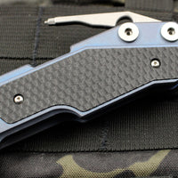 Hinderer Fulltrack Battle Blue Titanium/Black G-10 Handle Spanto Stonewash Blade Gen 6 Tri-Way Pivot System