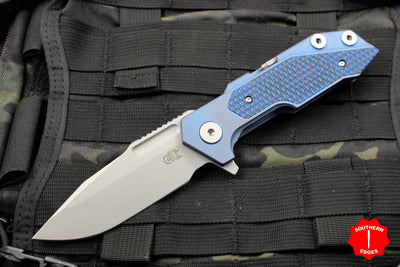 Hinderer Fulltrack Battle Blue Titanium/Blue Black G-10 Handle Spanto Stonewash Blade Gen 6 Tri-Way Pivot System