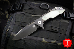 Hinderer Fulltrack Spanto Translucent Green G-10/Stonewash DLC Titanium Handle and Blade Gen 6 Tri-Way Pivot System