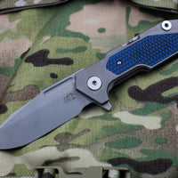 Hinderer Fulltrack Working Finish Titanium/Blue and Black G-10 Handle Spanto Working Finish Blade Gen 6 Tri-Way Pivot System