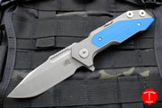 Hinderer Fulltrack Working Finish Titanium/Blue G-10 Handle Spanto Working Finish Blade Gen 6 Tri-Way Pivot System