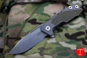 Hinderer Fulltrack Working Finish Titanium/OD Green G-10 Handle Spanto Working Finish Blade Gen 6 Tri-Way Pivot System