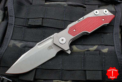 Hinderer Fulltrack Working Finish Titanium/Red G-10 Handle Spanto Working Finish Blade Gen 6 Tri-Way Pivot System