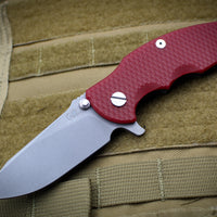 "Hinderer Jurassic Slicer Red G-10 Slicer 3.375"" Working Finish Blade Gen 6 Tri-Way Pivot System"
