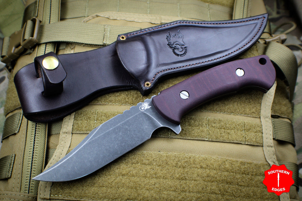 Hinderer Knives The Ranch Bowie Fixed Battle Black Blade Maroon Micarta Handle
