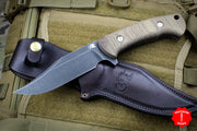 Hinderer Knives The Ranch Bowie Fixed Battle Black Blade Natural Micarta Handle