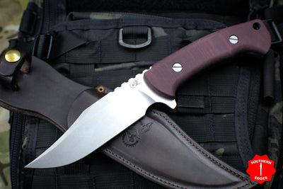 Hinderer Knives The Ranch Bowie Fixed Stonewash Blade Maroon Micarta Handle