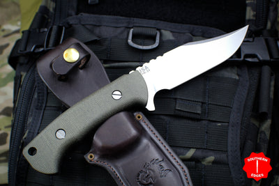 Hinderer Knives The Ranch Bowie Fixed Stonewash Blade Green Micarta Handle