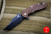 "Hinderer XM-18 3.5"" Vintage Textured Walnut Handle Black Bowie Blade Anitque Finished Ti Gen 6 Tri-Way Pivot System"