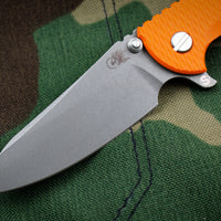 "Hinderer XM-18 3.5"" Orange G-10 Skinny Sheepsfoot Working Finish Blade Gen 6 Tri-Way Pivot System"