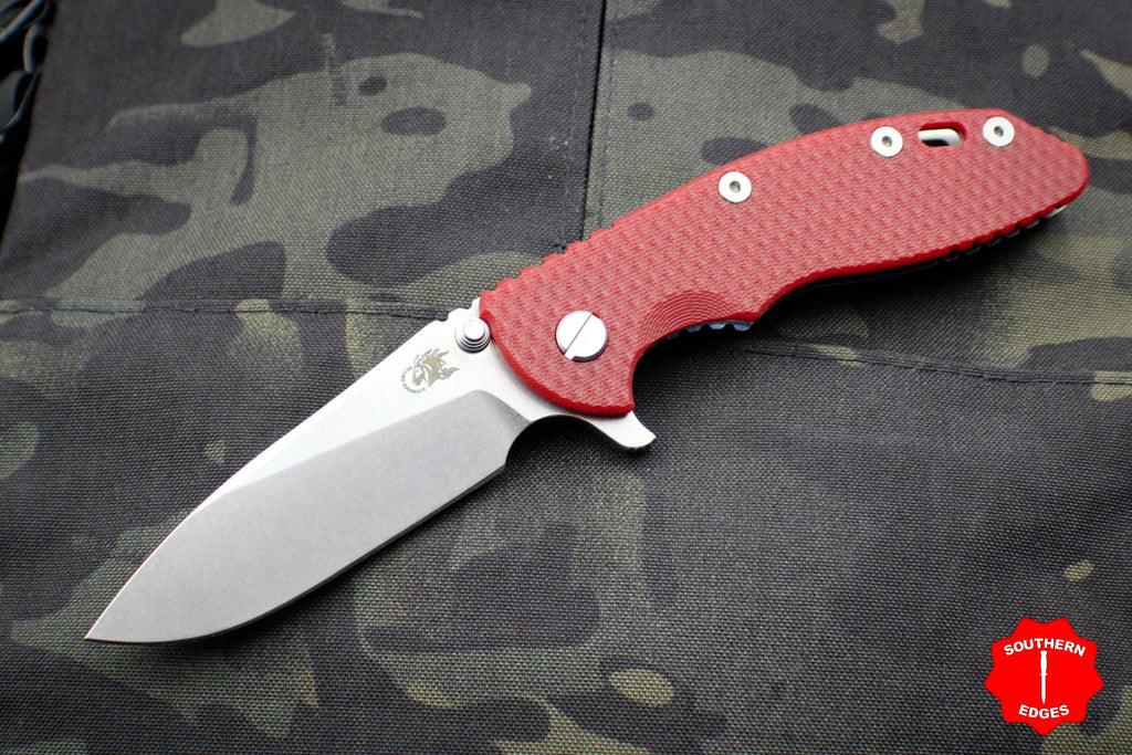 "Hinderer XM-18 3.5"" Red G-10 Slicer Blade Stonewash Finish Gen 6 Tri-Way Pivot System"