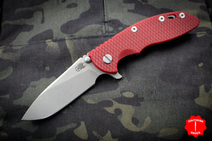 "Hinderer XM-18 3.5"" Red G-10 Slicer Blade Working Finish Gen 6 Tri-Way Pivot System"