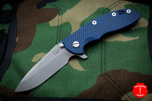 "Hinderer XM-18 3.5"" Battle Blue Handle Blue/Black G-10 Spanto Edge Working Finish Blade Gen 6 Tri-Way Pivot System"