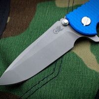 "Hinderer XM-18 3.5"" Battle Blue Handle Blue G-10 Spanto Edge Working Finish Blade Gen 6 Tri-Way Pivot System"