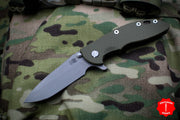 "Hinderer XM-18 3.5"" Battle Bronze Handle OD Green G-10 Spanto Edge Working Finish Blade Gen 6 Tri-Way Pivot System"