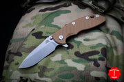 "Hinderer XM-18 3.5"" Spearpoint Coyote G-10 & Stonewash Bronze Finished Handle Stonewash Blade Gen 6 Tri-Way Pivot System"