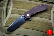 "Hinderer XM-24 4.0"" Vintage Textured Walnut Handle Black Spearpoint Blade Anitque Finished Ti Gen 6 Tri-Way Pivot System"