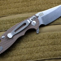 "Hinderer XM-18 3.0"" Skinny FDE G-10 With Stonewash Sheepsfoot Edge Gen 6 Tri-Way Pivot System"