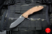 "Hinderer XM-18 3.5"" Vintage Textured Walnut Handle Black Skinner Blade Anitque Finished Ti Gen 6 Tri-Way Pivot System"