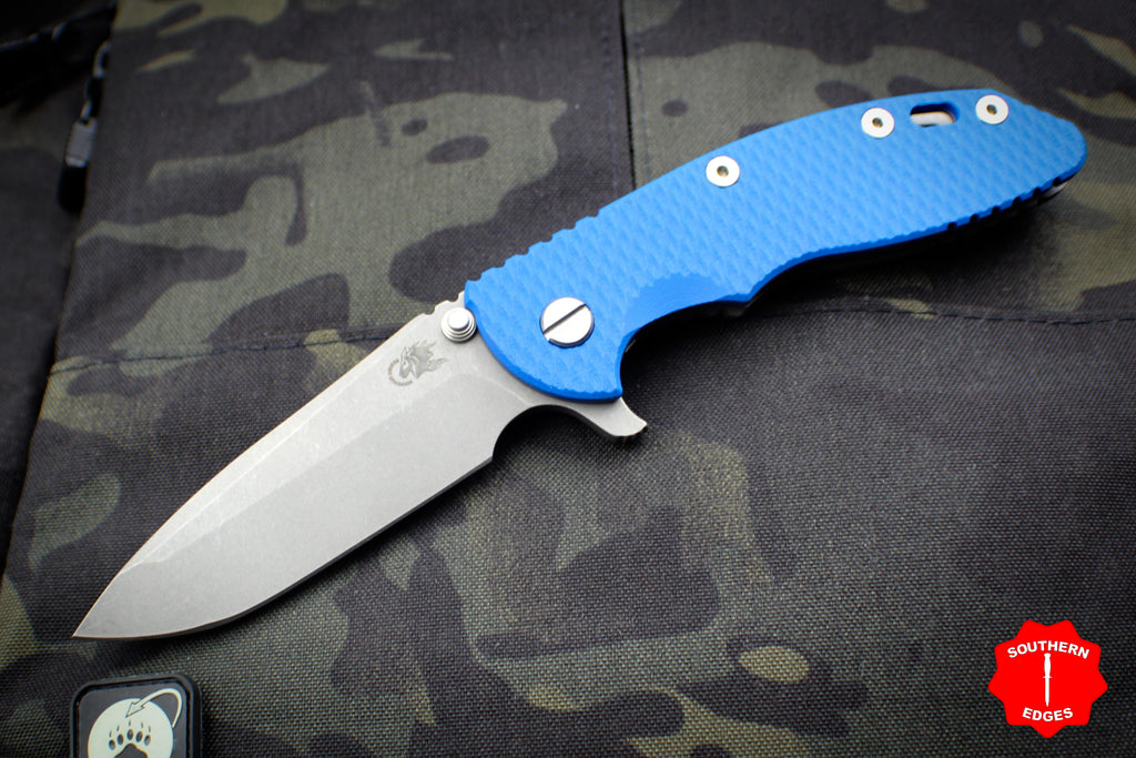 "Hinderer XM-18 3.5"" Blue G-10 Spanto Edge Working Finish Blade Gen 6 Tri-Way Pivot System"