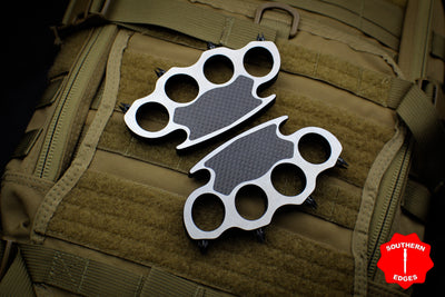 Marfione Custom ONE OFF Set of Steel Knucks with Carbon Fiber Inlay DNA Extractors