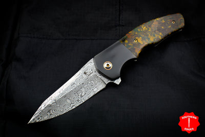Kirby Lambert Custom Flipper Damasteel Blade Brown Rag Micarta Zirconium Bolster and Backspacer