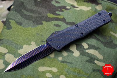 Marfione Custom Combat Troodon Double Edge DE Blue Twill Carbon Fiber Top Blued Mosaic Damascus Blade 342-MCK DE MOSAIC